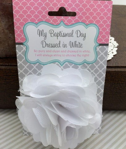 Baptismal Hair Flower White Lizzy