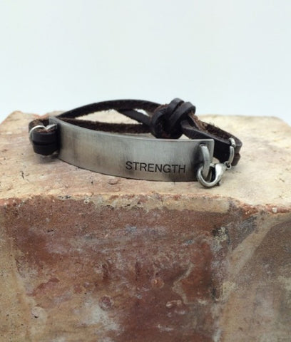 "2015 youth theme mutual theme bracelet €"" STRENGTH handstampled metal leather bracelet"