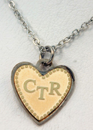 CTR Tutone Heart Etched Necklace (Gold/Silver)
