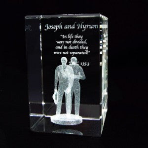 Joseph and Hyrum Smith Crystal Cube