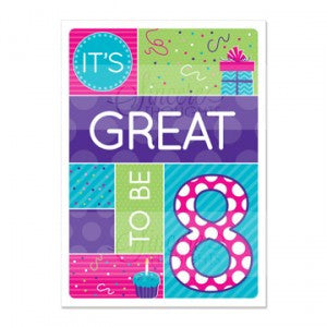 Girl Great to be 8? Baptism Card