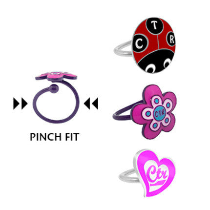 Heart, Flower, Lady Bug CTR Ring Set (3 Pack)