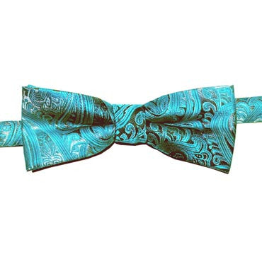 314 Turquoise Paisley Boys Bow Tie