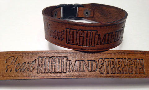 Heart, Might, Mind, Strength Wristband (Brown)