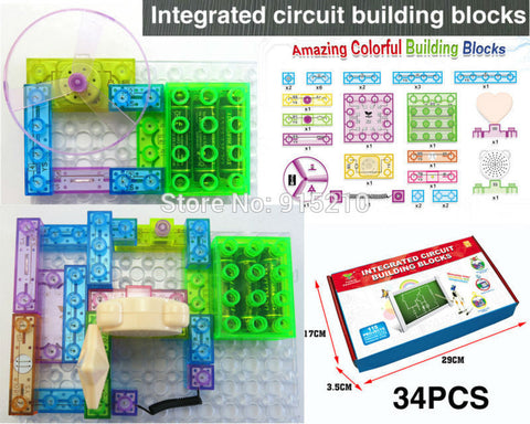115 projects DIY Kits Integrated circuit building blocks Educatioal learning toys,plastic model kits Science kids toys 34pcs