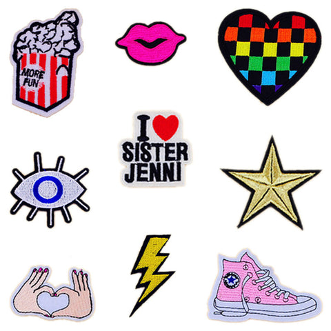 1 PCS Iron on Patches Stripes on Clothes Embroidered Cartoon Patch Free Shipping Parches Bordados Decoration Clothing Stickers