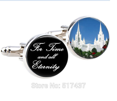 1 pairs For time and All Eternity Cufflinks, LDS mormons Weddings, Handmade Cuff links,cufflinks for mens