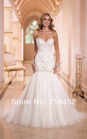 2014 Mormon Fashionable Wedding Dresses Embroidery White Organza Vestido De Noiva Beaded Bridal Gowns Free Shipping NW1464