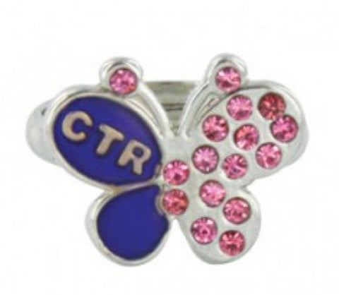 CTR Pink Crystal Butterfly Mood Ring