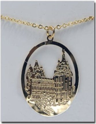 Etched Salt Lake Temple Necklace (Gold)