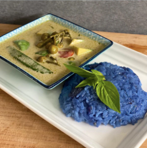 Vegan Avocado Thai Green Curry with Blue Rice