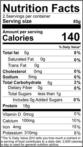 Organic Chickpea tempeh nutritional info