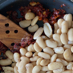 Gigantes plaki, the Greek Vegan Baked Giant Bean with Tomatoes