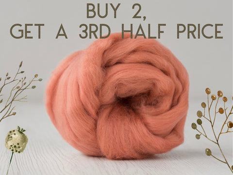 Coral coloured naturally dyed merino