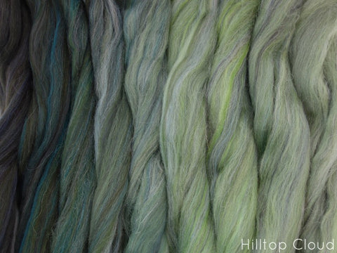 Where Wild Things Roam Gradient Pack- Blended Spinning Fibre, Gradient Roving Set 140g 4.9oz - Hilltop Cloud