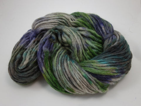 Corriedale Wool Pencil Roving. Hand Dyed ~200g, Super Bulky Yarn. Variegated Colourway.