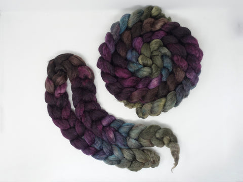 Sock Fibre, Superwash Cheviot, Silk & Nylon. Hand Dyed Combed Top, Mirror Gradient. 12