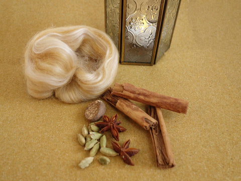 Silk Road- Tussah. 100g Combed Top - Hilltop Cloud