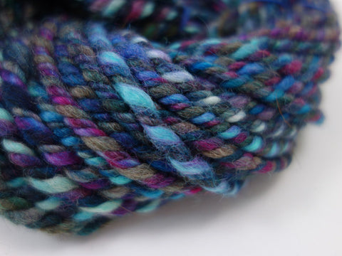 "Handspun Yarn- Hand Dyed BFL, Bulky weight, ""The Blues"""