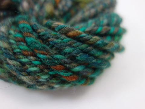 "Handspun Yarn- Hand Dyed BFL, Bulky weight, ""The Greens"""