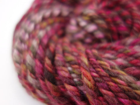 "Handspun Yarn- Hand Dyed BFL, Bulky weight, ""The Reds"""