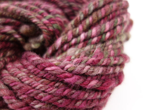 "Handspun Yarn- Hand Dyed BFL, Bulky weight, ""The Pinks"""