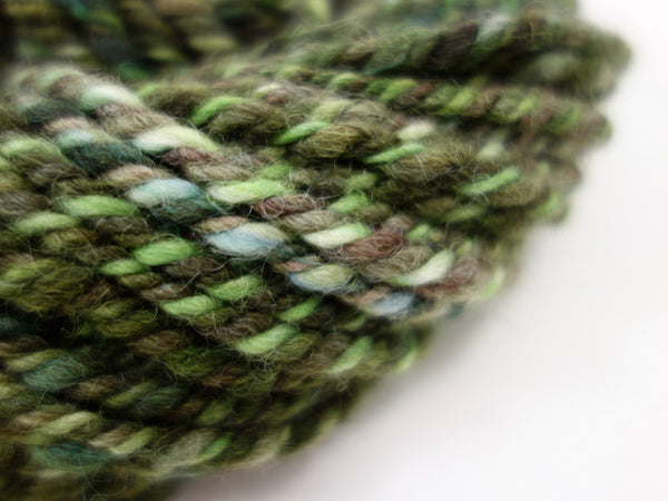 "Handspun Yarn- Hand Dyed BFL, Bulky weight, ""The Limes"""