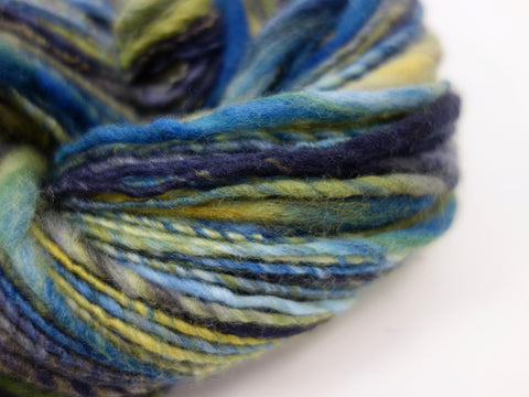 "Handspun Think & Thin Yarn- Superfine Merino,  Hand Dyed ""Campagne"""