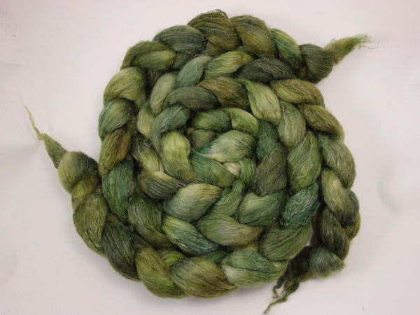 Romney, Silk & Linen. Hand Dyed, Semi-Solid. 100g. British Wool