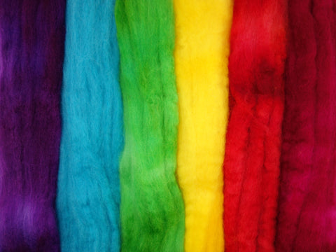 Hope Rainbow Pack- Devon BFL, 26 micron, Hand Dyed, Combed Top 120g