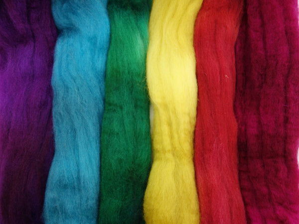 Love Rainbow Pack- Devon BFL, 26 micron, Hand Dyed, Combed Top 120g