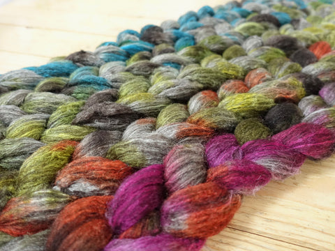Fade Pack- Zwartbles & Silk, 5 co-ordinating braids, Hand Dyed Wool, 500g