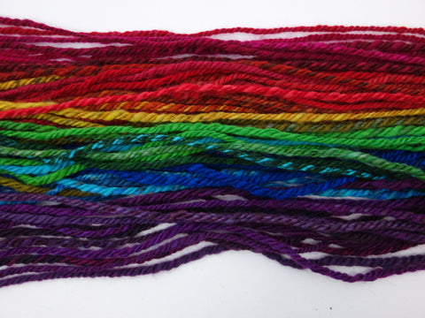 Handspun Rainbow Yarn- Hand Dyed BFL, Bulky weight - Hilltop Cloud