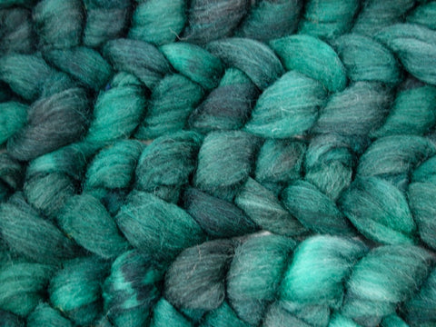 Sock Fibre, Superwash Cheviot, Silk & Nylon. Hand Dyed Combed Top, Semi-Solid. 120g