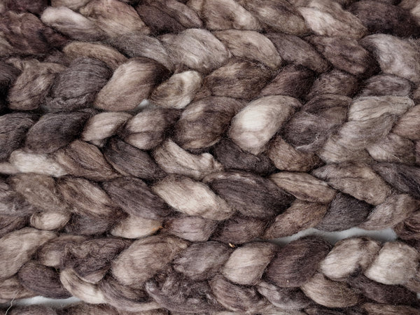 BFL, Cashmere & Silk. Hand Dyed Combed Top, Semi-Solid, 100g