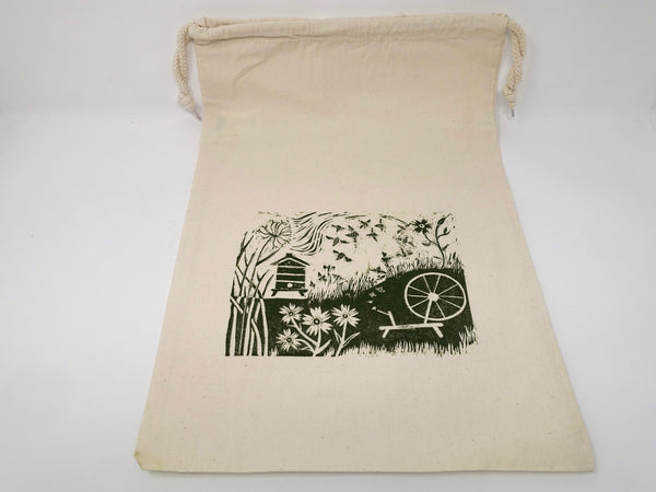 The Spinners Beehive. Hand printed, large, drawstring cotton bag