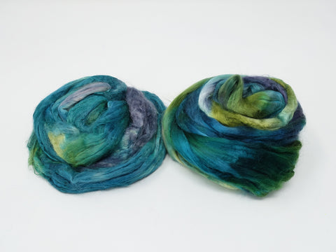 Manufactured Protein Sampler- Milk  Protein & Soyasilk. Hand Dyed. 100g- Peacock