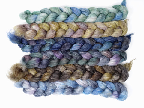 Dyers Half-Dozen- Corriedale Yak & Rose, 6 co-ordinating mini braids, Hand Dyed Wool, 360g