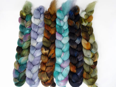 Dyers Half-Dozen- Superfine Shetland, 6 co-ordinating mini braids, Hand Dyed Wool, 360g