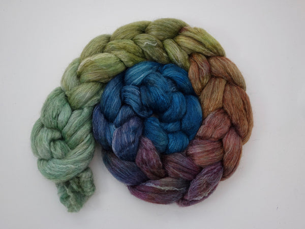 Corriedale, Yak, Rose, Hand Dyed-Gradient,  Combed Top, 100g