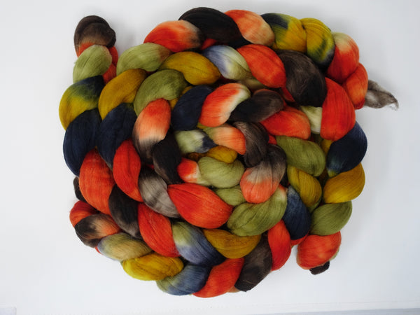 Rambouillet, Hand Dyed Combed Top, 100g, Repeating colourway