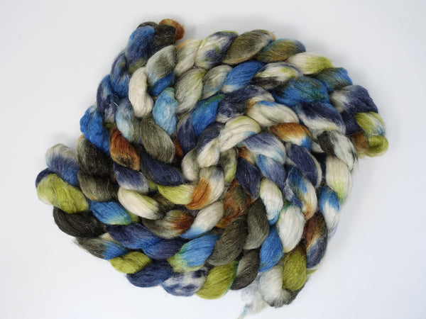 Romney, Silk & Linen. Hand Dyed, Variegated- 100g. British Wool