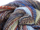 "Handspun, Striped, Sport weight, Woollen Yarn- ""Stormy Weather"" - Hilltop Cloud"