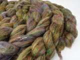 Textured Blend (sparkle & non-sparkle option) BFL, Manx Loaghtan, Sari Silk. Hand Dyed, Semi-Solid. 100g. British Wool