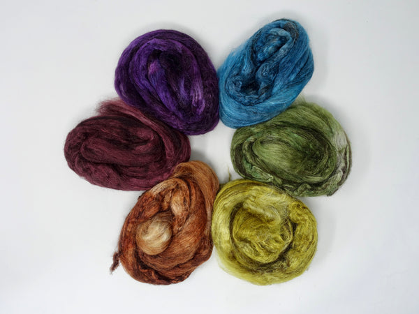 Silken-Yak-Llama, Spectrum Sample Pack,  Hand Dyed Combed Top, Semi-Solid, 120g