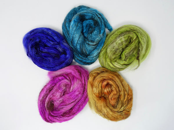 Silken-Yak-Llama, Highlighter Sample Pack,  Hand Dyed Combed Top, Semi-Solid, 100g