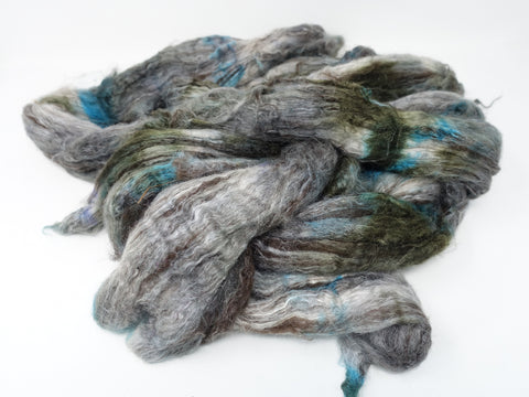 Silken-Yak-Llama, Broken Tops,  Hand Dyed Combed Top, 190g