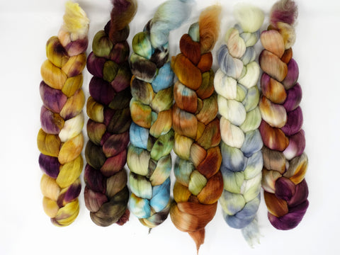 Dyers Half-Dozen- Rambouillet, 6 co-ordinating mini braids, Hand Dyed Wool, 360g