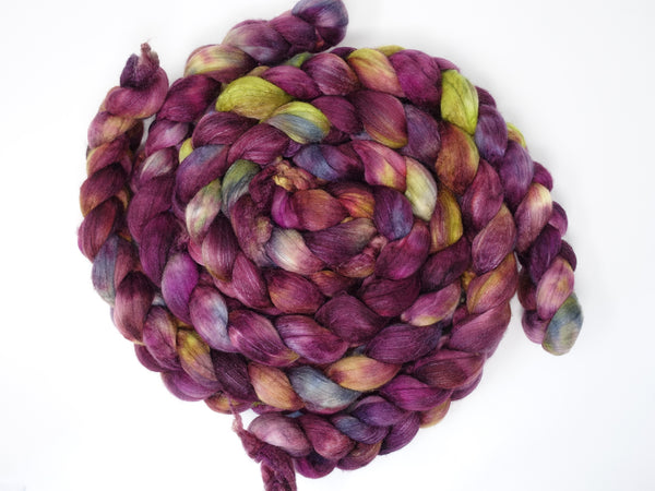 Superfine Merino & Silk. Hand Dyed Combed Top, 19 micron Merino, Variegated, 100g