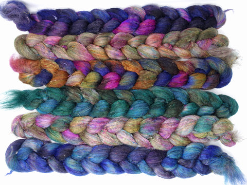 Dyers Half-Dozen- Textured Blend, 6 co-ordinating mini braids, Hand Dyed Wool, 360g